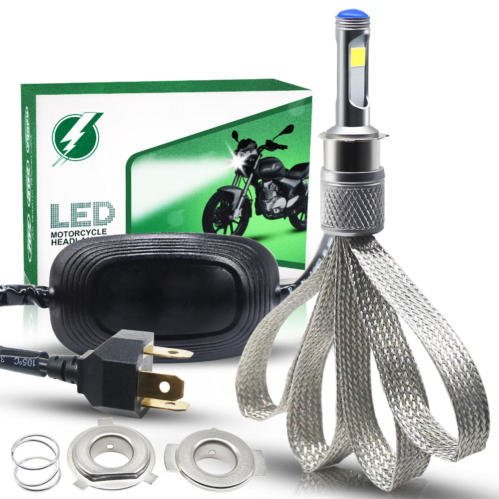 <font><b>Motorcycle</b></font> Light <font><b>H4</b></font> <font><b>LED</b></font> Headlight <font><b>Bulb</b></font> 28W COB Chip Moto Light <font><b>LED</b></font> <font><b>Motorcycle</b></font> Headlight Universal Front Headlamp AC/ DC 9-18V image