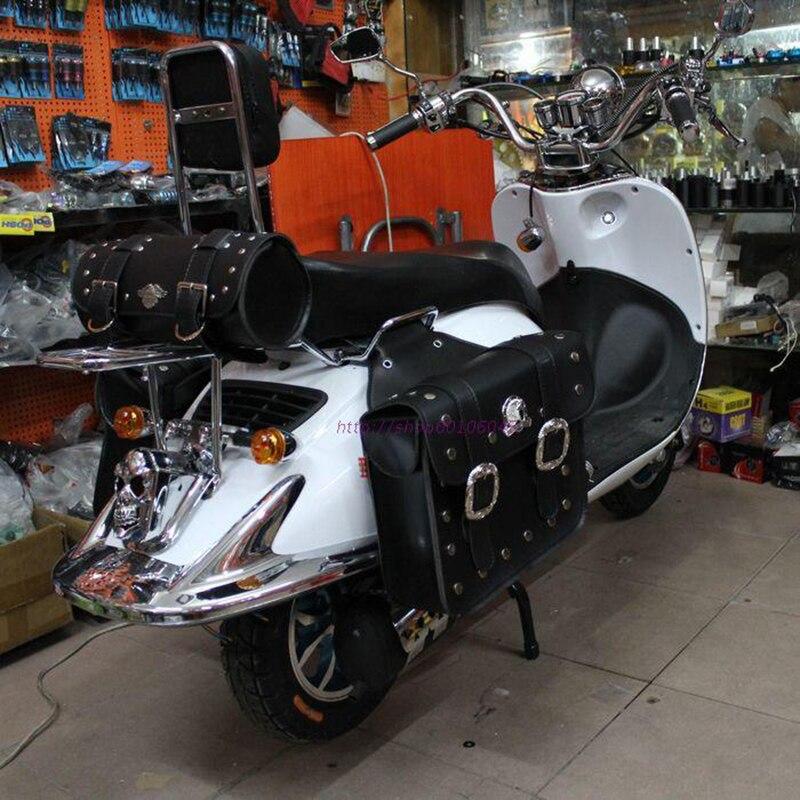 Prix pour 3 pièce sac/set NOUVEAU EN CUIR moto selle sac Scooter côté sac bagages poche fit pour tous les moto top qualité noir