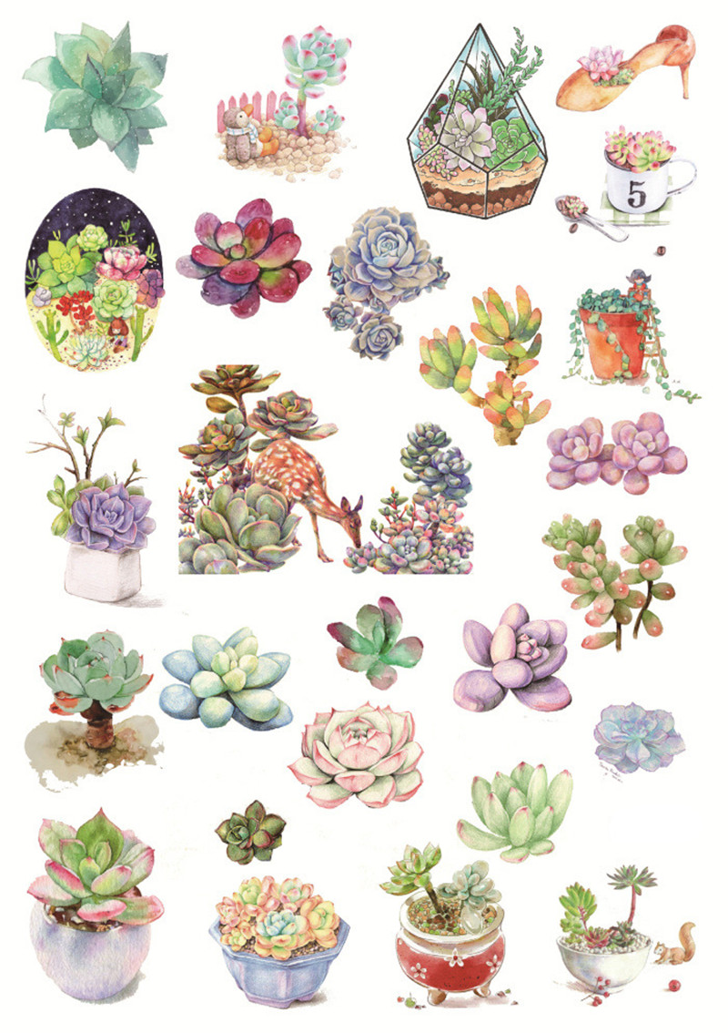 2Pcs Japanese Adhesive Flower Cute Cactus Paper Sticker Succulent Hand made Stationery Store Gift Scrapbooking Diary DIY Kawaii