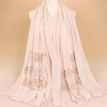 Один шт Арабский Дубайский Хиджаб Женский красивый шарф длинные шали сплошной цвет