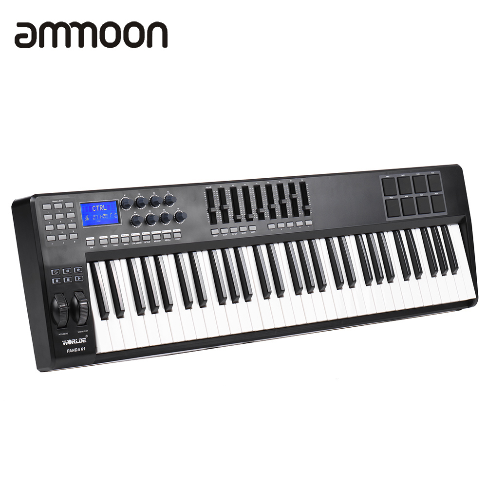 buy 61 key usb midi keyboard controller 8 drum pads with usb cable high quality. Black Bedroom Furniture Sets. Home Design Ideas