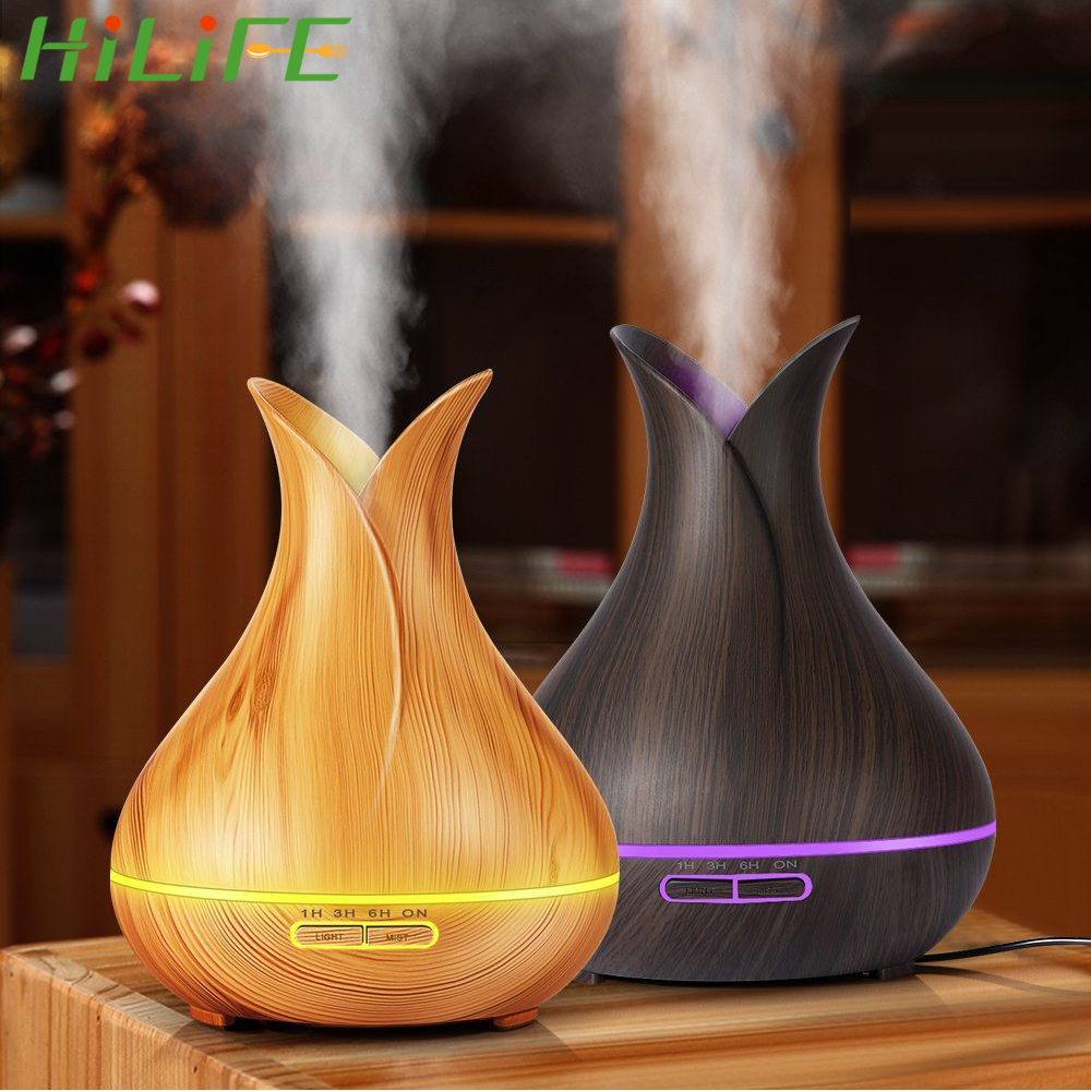 HILIFE 7 Color LED Lights Aroma Essential Oil Diffuser Ultrasonic Air Humidifier with Wood Grain for Office Home USB Electric