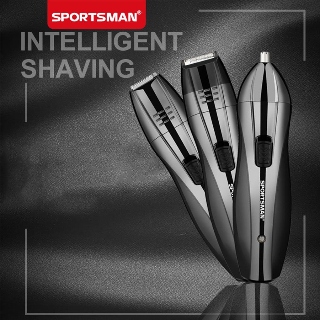 3 in 1 Men Sideburns Beard Ear Nose Hair Remover Epilator Trimmer Electric Shaver Kit EU Plug