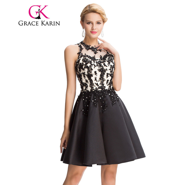 Grace Karin Sexy Black Prom Dress 2018 Satin Exquisite Appliques ...