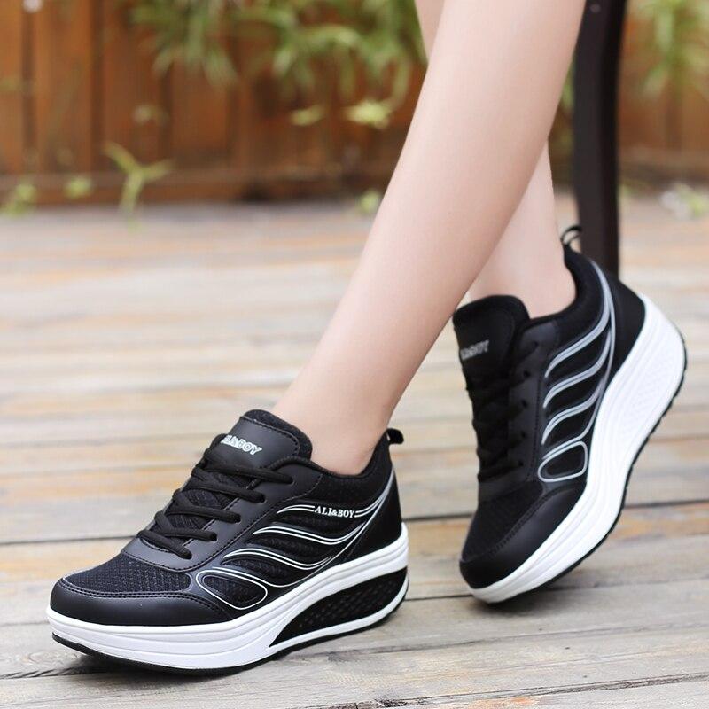 2017Women Running Shoes Women summer tide shos net female swing shoes women's sports shoes low to help shoes thick bottom swing