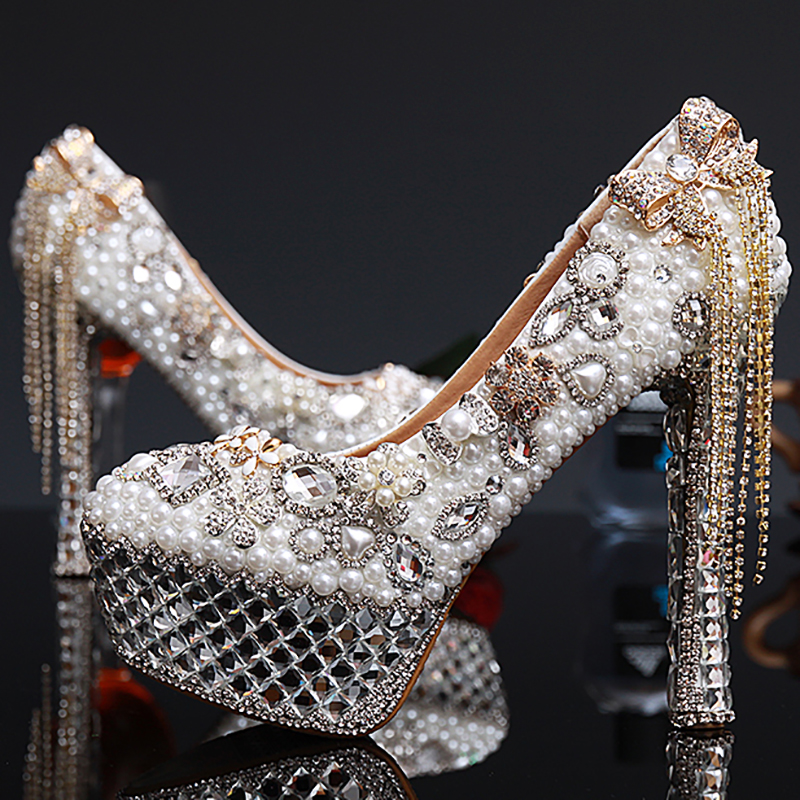 Women Wedding Pearl Shoes Luxury Crystal High Heels Platform Pumps Tassel Genuine Leather Bridal Party Ladies