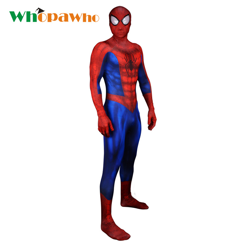 2018 Spider man Costume Spandex Zentai Halloween Superhero Costume for Men Fancy Dress Skin Tight Bodysuit