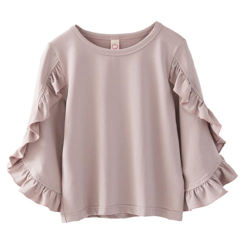2018 Spring Fashion New Baby Girls Clothes Cute Long Ruffles Sleeve Blouse Pink Shirts For Girls Child Shirt School Blusas