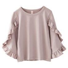 24a730840 2018 primavera moda nuevo bebé niñas ropa linda manga larga volantes blusa  rosa camisas para niñas niños escuela Blusas
