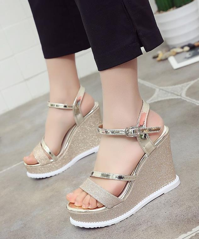 2018 summer new style open toe super high heels slope with waterproof platform shoes sexy word buckle sequins sandals female