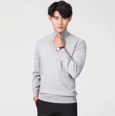 Кашемировая водолазка мужская, мужской свитер, одежда для осени и зимы, свитера цвета Омбре, пуловер для мужчин с высоким воротником - Цвет: Серый
