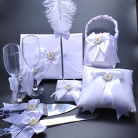 6PCS=1Set White Elegant Wedding Party Supplies Wedding Guest Book+Pen+Ring Pillow+Cake Knife and Server+Flower Basket+Wine Glass