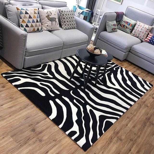 Black White Zebra Carpet Living Room Livingroom Strip Rugs Thick Round Area Rug Custom Logo Designer