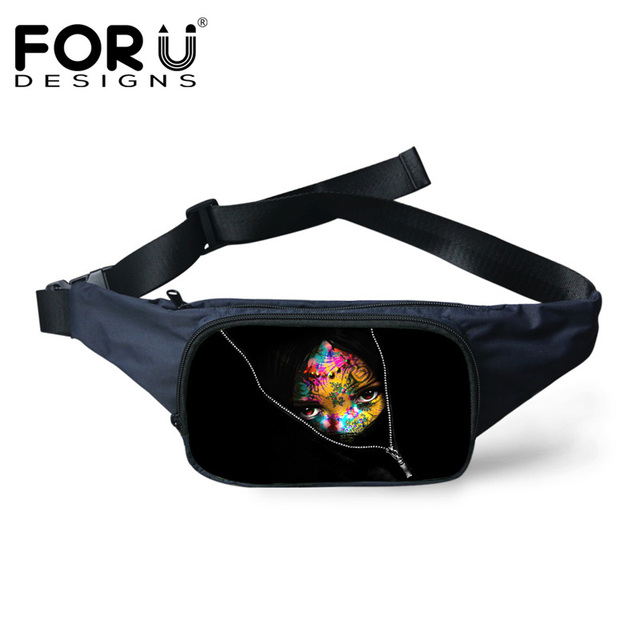 FORUDESIGNS Brand Design Small Canvas Bags Famous Character Printing Waist Pack for Women Men Casual Shoulder Bags Fanny Pack