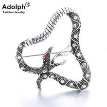 Joyería de la estrella de ADOLPH Vintage cristal serpiente Boho broche pines mujer 2018 nuevo lujo novia broches accesorios de moda mujer caliente
