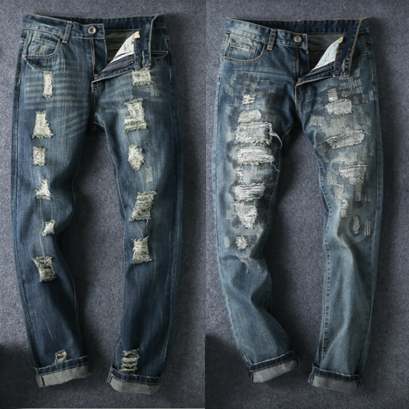 2017 Fashion Designer Destroyed Trousers Slim Male Skinny Ripped Jeans Men Distressed Denim Pants Plus Size 40 42 With Hole men s cowboy jeans fashion blue jeans pant men plus sizes regular slim fit denim jean pants male high quality brand jeans