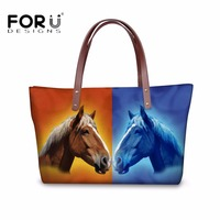 FORUDESIGNS Crazy Horse Women Luxury Handbags 3D Cool Animal Large Capacity Tote Beach Bags For Female
