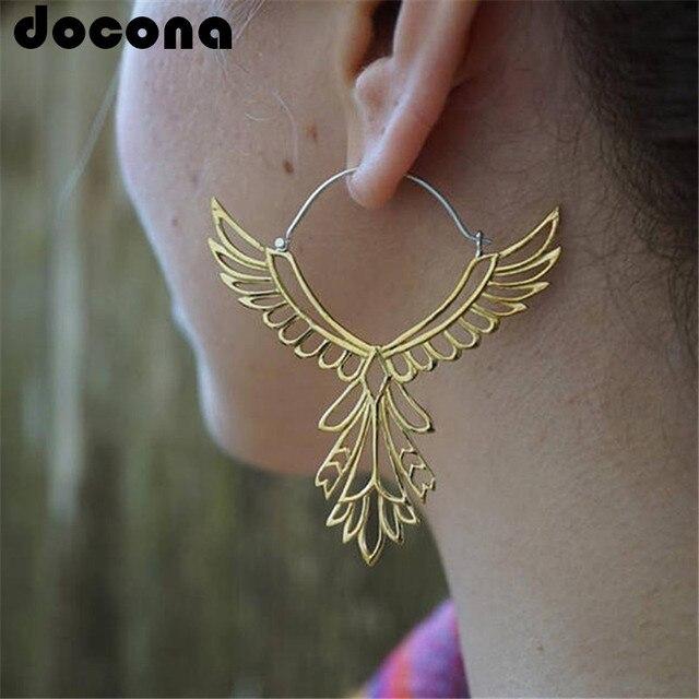 docona Bohemia Hollow Thunderbird Shape Drop Earring Women Alloy Large Wing Feat