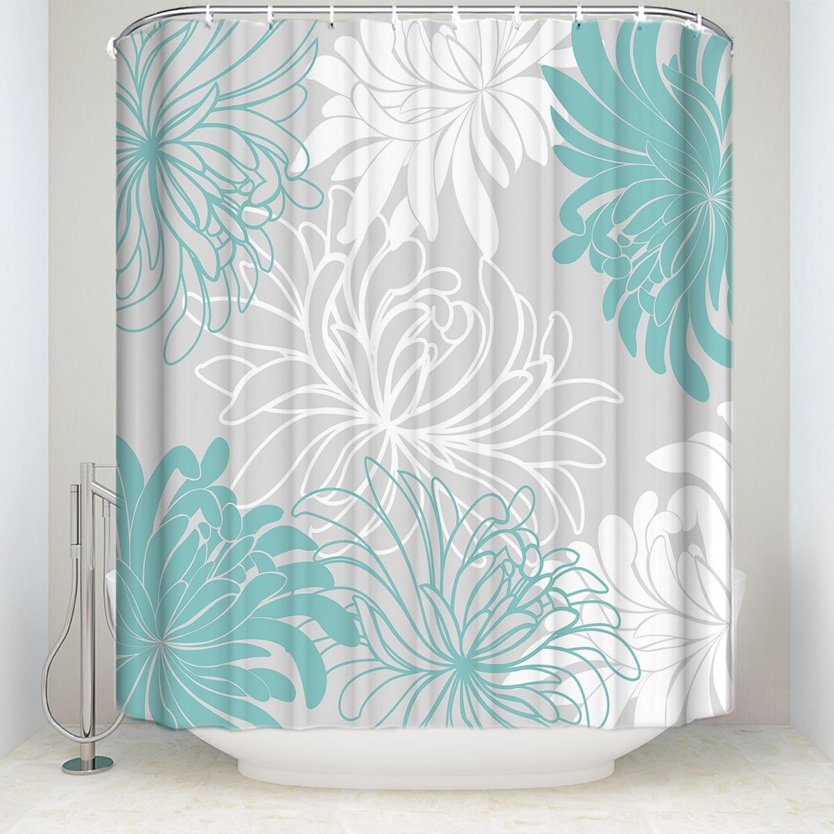 Impermeabile Tenda Doccia con Ganci In Tessuto Poliestere Daisy Motivo Floreale Bagno Tende per La Decorazione Domestica Bianco Grigio Blu Ciano