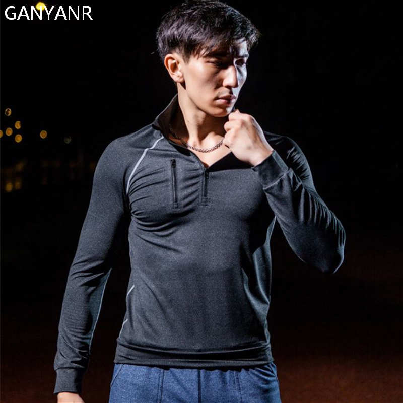 GANYANR Brand Compression Tights Men Running T Shirt Sport Dry Fit Gym Long Sleeve Solid Polyester Fitness Sports 2017 Football