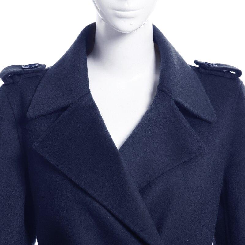 Laine Grande 5726 Bleu Tournent Breasted Automne Manches Le Outwear Marine Style Européenne Double Longues Manteau xxxl Taille Bas Hiver S Vers q1w4UU