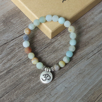 Matte Amazonite Stone Strand Bracelet Yoga Chakra Mala Bracelet OM Lotus Women Men Beaded 4