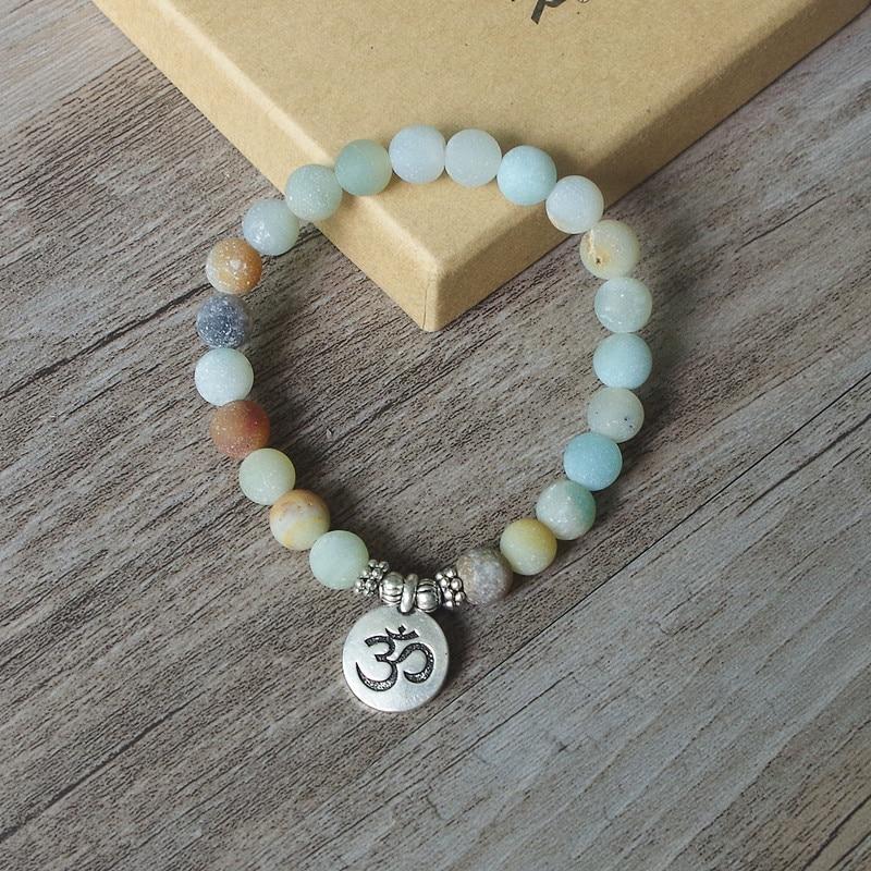 Matte Amazonite Stone Strand Bracelet Yoga Chakra Mala Bracelet OM Lotus Women Men Beaded Charm Bracelet Handmade Jewelry 4