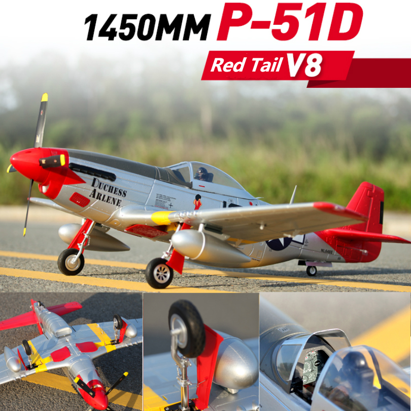 FMS 1450 MM 1.4 M (55.1 ) P51 P-51D V8 Mustang queue rouge 6CH 4 S PNP grand Avion RC modèle Avion passe-temps Avion Warbird Avion EPO