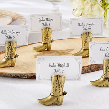 New Arrival Gold Resin Cowboy Boot Place Card Holder  Elegant wedding party supplies 100pcs/lot  Wholesale Free Shipping