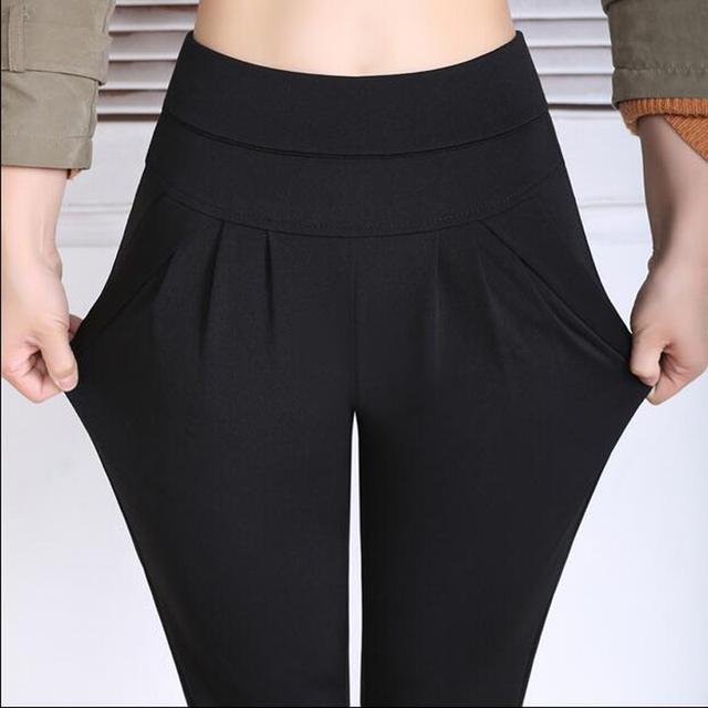 Yardas grandes Nuevos 2016 Primavera Pantalones Harén Mujeres Pantalones Damas Lápiz de Cintura Elástica Delgada Femenina TY5215