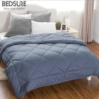 Bedsure Grayish Blue Diamond Stitching Design Comforter High Quality Plaid Down Breathable Comforter Edredom Futon