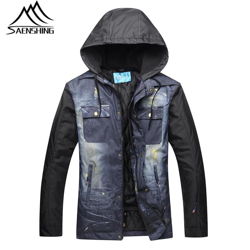цена на SAENSHING New Ski Jacket Men Winter Snowboard Jacket Waterproof Thicken Warm Snow Jackets Denim Cloth Outdoor Sports Jackets XXL