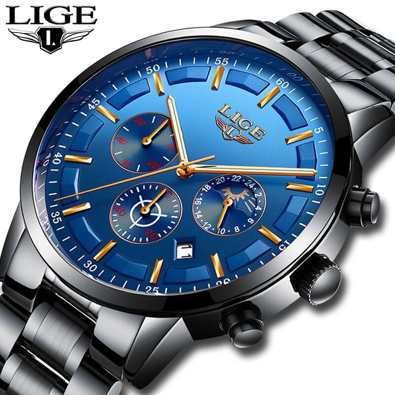 LIGE reloj hombres moda deporte reloj de cuarzo relojes para hombre Top marca de lujo de acero completo impermeable de negocios reloj Relogio Masculino