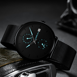 Image 4 - CRRJU 2019 Mode Kleid Männer Uhr Business Einfache Quarz Uhren Herren Schwarz Mesh Wasserdicht Casual Armbanduhr für Mann Uhr
