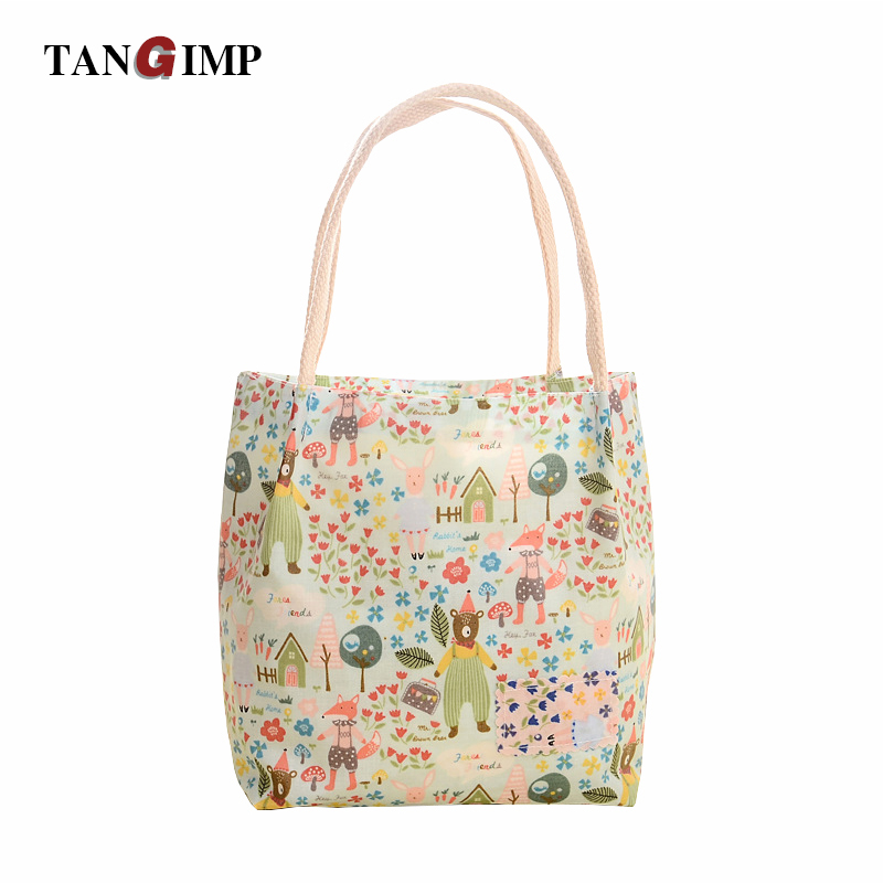 TANGIMP Portable Lunch Bags Cute Bears Printed Storage Food Picnic Tote Waterproof Students Girls Kids Lunch Bags Handbags ...