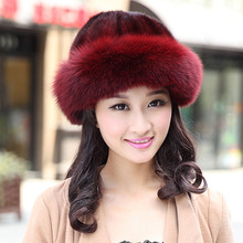 Real Fur Hat Winter For Women's Natural Mink Fur With Fox Fur Hat Caps Luxury  Trendy New Solid Russian Sun Knitting Hats