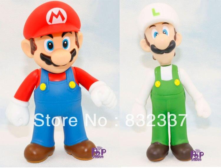 High Quality Super Mario Bros PVC Luigi Mario font b Action b font font b Figures