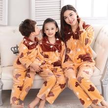 Купить с кэшбэком Pijamas Kids Pijama sets Warm flannel pajamas for Autumn Winter Flannel sleepwear Family clothes suite Home wear Leisure wear
