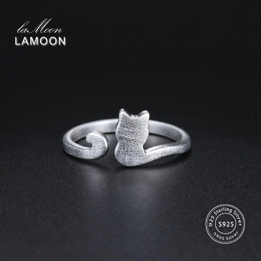 Lamoon Cute Wire Drawing 5*8mm Little Cat 925-Sterling-Silver Adjustable Ring S925 Fine Jewelry Creative Gift for Girl LMRY002