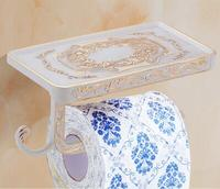 Creative Antique Bathroom Paper Roll Holder Brass Toilet Paper Holder With Shelf WC Kitchen Tissue Paper