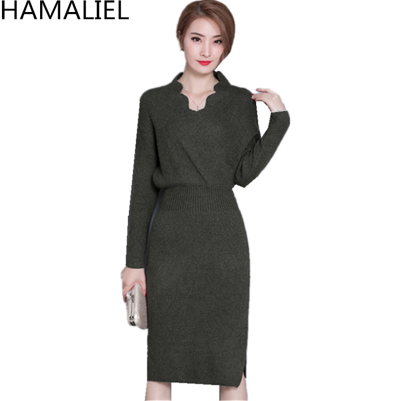 New 2018 Fashion Autumn Women Knitted Sweater Bodycon Dress Green Long Sleeve Sexy V Neck Knitting Empire Split Pencil Dress rqueena new arrival double v neck bodycon pencil dress 2017 fashion autumn winter women casual long knitted sweater dress women