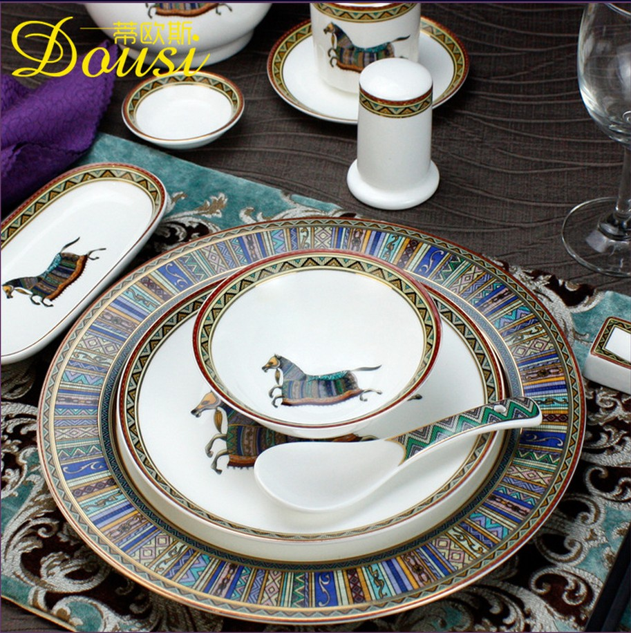2018 Vintage Fashion Ceramic China Horse Series Dining Room Furniture Chaozhou Manual On Glaze Durable High Temperature Baking