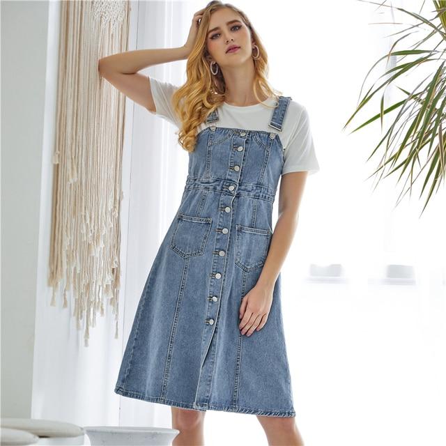 Colorfaith New 2019 Women Denim Dresses Spring Autumn Knee-Length Casual Ladies Strap Dress Overalls Pockets DR8851 3