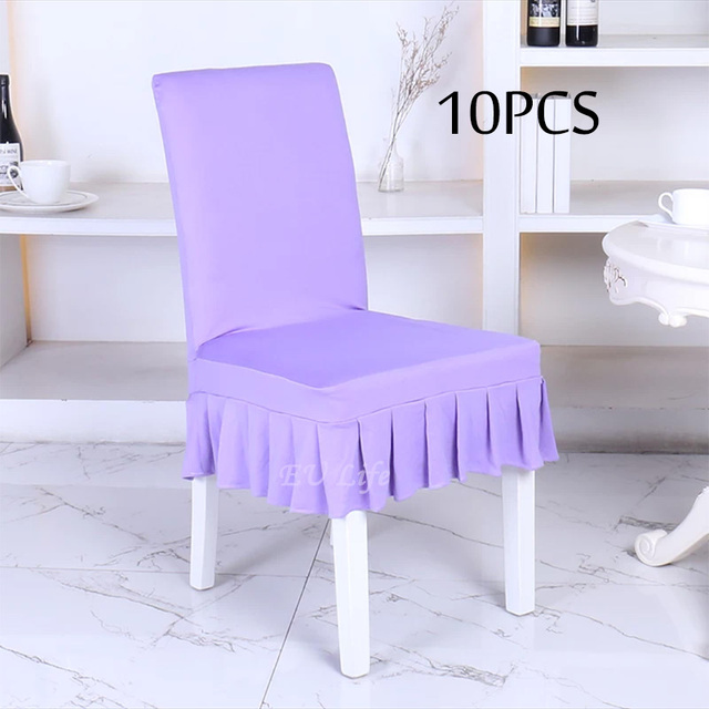 Textile Factory Retail 10PC Spandex Iron Free Lycra Stretch Conjoined Dining Room Chair Cover Of