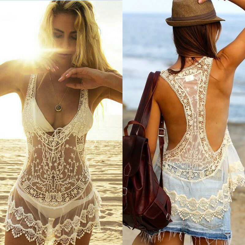 Womens Ladies Sexy Visible Bikini Cover Up Swimwear Swimsuit Bathing Beach Dress