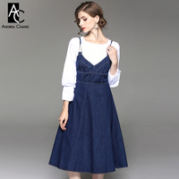 autumn winter woman outfit dress set lantern sleeve white shirt dark blue over knee spaghetti strap denim dress cute outfit set