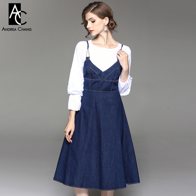 autumn winter woman outfit dress set lantern sleeve white shirt dark blue  over knee spaghetti strap