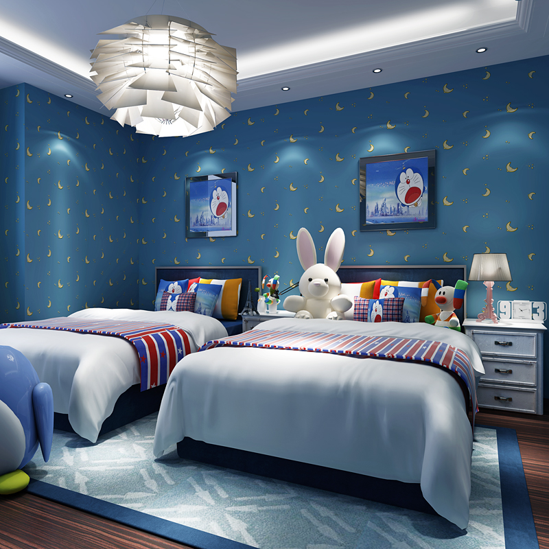 Children's room wall coating boy girl blue sky,star moon cartoon non-woven wallpapers wall paper warm children's baby paradise beibehang wall paper pune girl room cartoon children s room bedroom shop for environmental non woven wallpaper ocean mermaid