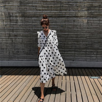 Lychee Girls Dot Print Ruffles Women Long Dress Deep V Neck Half Puff Sleeve A Line Dress Spring Summer Bohemian Sweet Dresses