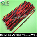 30 Pçs/lote 25 cm 22 AWG CABOS LED 2pin fio Vermelho preto diluído fio de cobre para a luz única tira de cor LEVOU fio Frete grátis